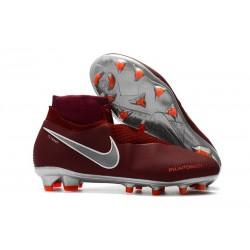 Nouveau Crampons Foot Nike Phantom Vision Elite DF FG Vin Rouge Argent