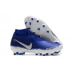 Nouveau Crampons Foot Nike Phantom Vision Elite DF FG Noir Argent Bleu Racer
