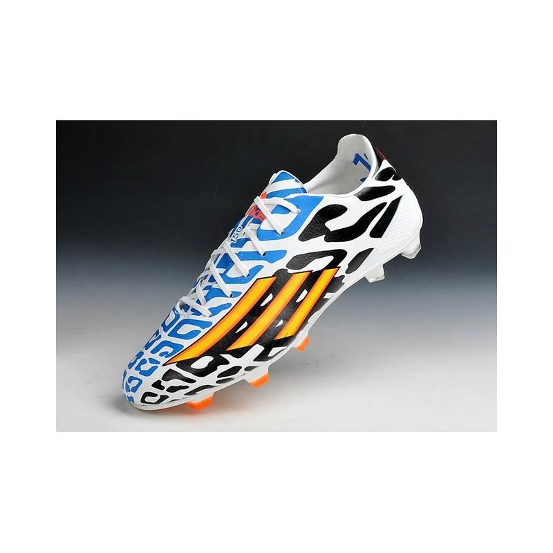20142015 Adidas Chaussures de foot adizero F50 TRX FG Noir Blanc Orange Bleu