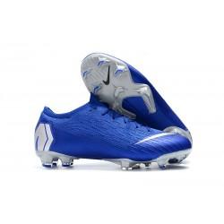 Nike Mercurial Vapor XII Elite FG - Chaussures de Football Hommes Noir Argent Bleu Racer