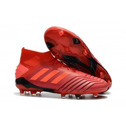 Chaussures Football Adidas Predator 19.1 FG Rouge Solaire Noir