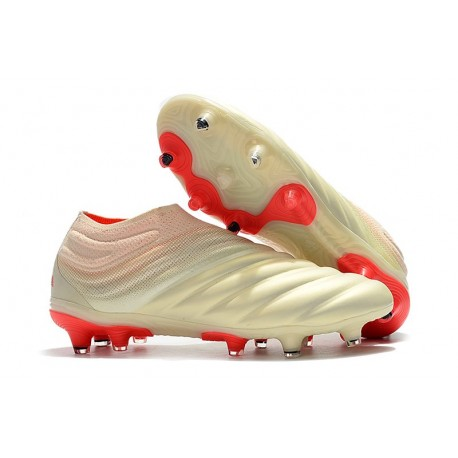 price reduced 50% off look out for Chaussures De Football Adidas Copa 19+ FG Blanc Cassé Rouge Solaire