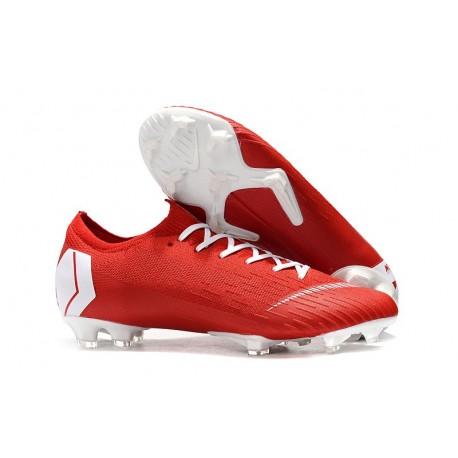 Nike Mercurial Vapor XII Elite FG Chaussures de Foot Pas Cher - Rouge Blanc