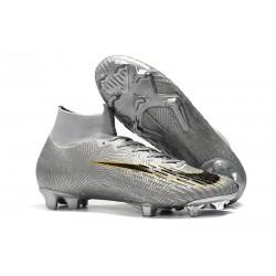 Crampons pour Hommes Nike Mercurial Superfly VI 360 Elite FG Argent Noir