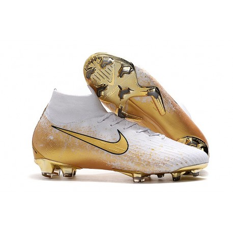 Nike Nouveau Chaussures Mercurial Superfly 6 Elite FG Blanc Or