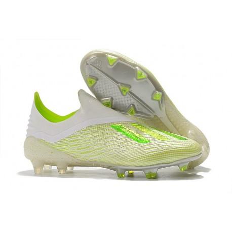 Nouveau Crampons De Foot adidas X 18+ FG Blanc Vert