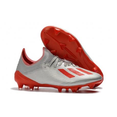 adidas X 19.1 FG Crampon de Foot Homme Gris Rouge