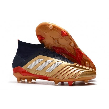 Chaussures Football Adidas Predator 19.1 FG Or Noir Rouge