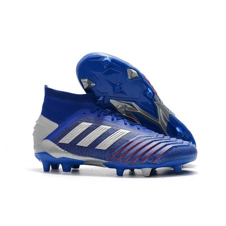 Chaussures Football Adidas Predator 19.1 FG Bleu Argent