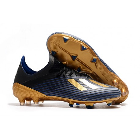 adidas X 19.1 FG Crampon de Foot Homme Bleu Noir Or