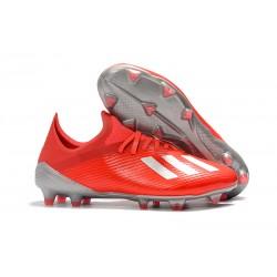 adidas X 19.1 FG Crampon de Foot Homme Rouge Argent