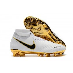 Nouveau Crampons Foot Nike Phantom Vision Elite DF FG Blanc Or