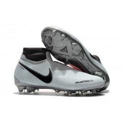 Nouveau Crampons Foot Nike Phantom Vision Elite DF FG Gris Rouge
