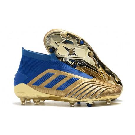 Crampons de Foot adidas Predator 19+ FG - Oro Bleu