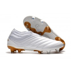 Chaussures De Football Adidas Copa 19+ FG Blanc Or