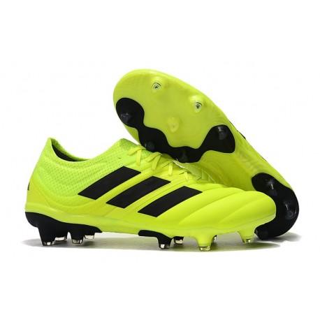 Nouvelles Crampons de Foot - Adidas Copa 19.1 FG Volt Noir