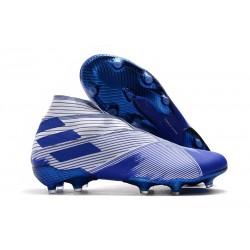 Crampons Nouvelle adidas Nemeziz 19+ FG Blanc Bleu
