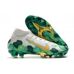 Crampon Neuf Mbappe Nike Mercurial Superfly 7 Elite FG -Gris Or Vert