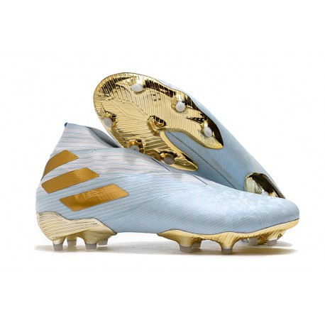 adidas Chaussures de Foot Nemeziz 19+ FG Bold Aqua Or Blanc