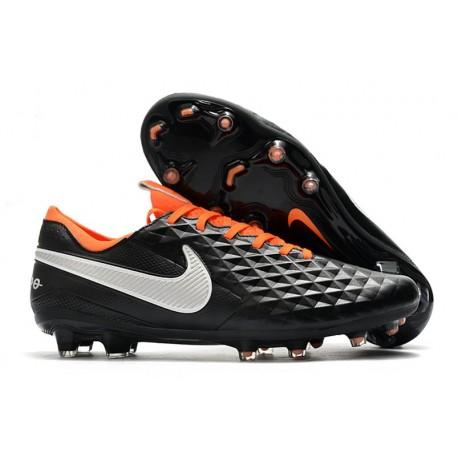 Chaussure Nouvelles Nike Tiempo Legend 8 Elite FG -Noir Orange Blanc