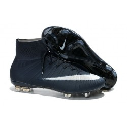 Nouveau Chaussure de Football Nike Mercurial Superfly CR FG Bleu Marine Blanc