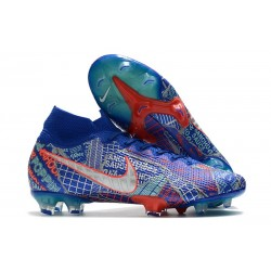 Nike Mercurial Superfly 7 Elite FG Sancho SE11 Bleu Argent Rouge
