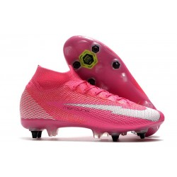Nike Mercurial Superfly 7 Elite SG Anti Clog x Mbappe Rose Blanc Noir