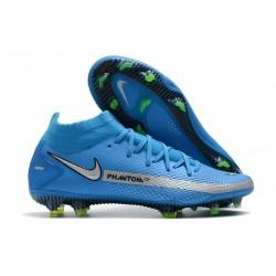 Nike Phantom GT Elite DF FG Crampon Bleu Argent