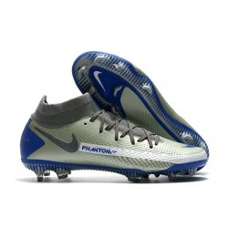Nike Phantom GT Elite DF FG Crampon Argent Bleu