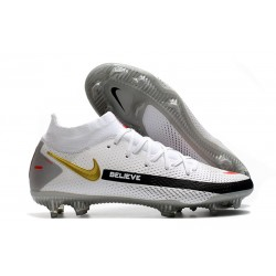 Nike Phantom GT Elite DF FG Crampon Blanc Noir Or Rouge