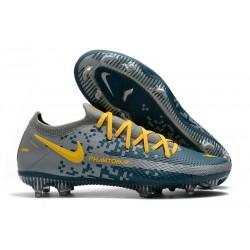 Nike Crampons Football Phantom GT Elite FG Bleu Gris Jaune