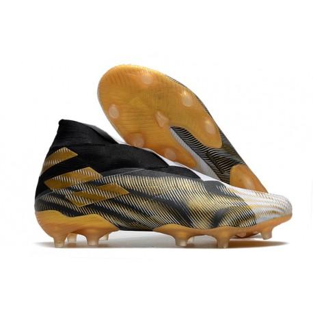 adidas Chaussures de Foot Nemeziz 19+ FG Blanc Or Metallique Noir