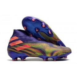 adidas Chaussures de Foot Nemeziz 19+ FG Encre Energie Rose Signal Vert Signal