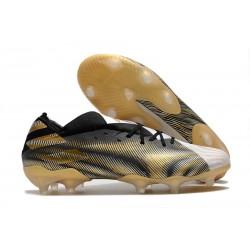 adidas Nouveau Chaussures Nemeziz 19.1 FG - Blanc Or Metallique Noir