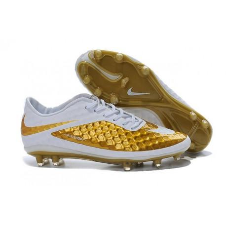 Nouveau Hommes Chaussures Nike Hypervenom Phantom FG Premium Or Blanc