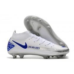 Nike Phantom GT Elite DF FG Crampon Blanc Bleu