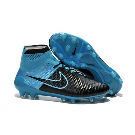 Nouveau Chaussures de Football Nike Magista Obra FG Cuir Bleu Noir