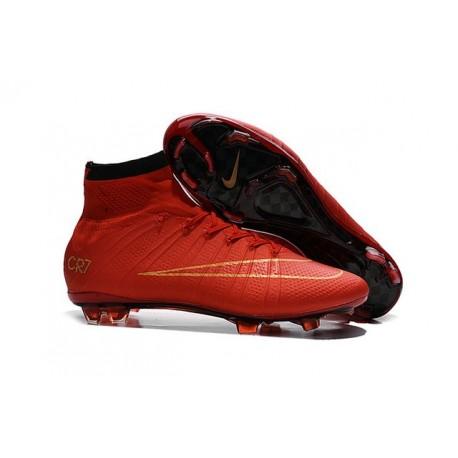 Nouveau Chaussure de Football Nike Mercurial Superfly CR FG Rouge Noir Or