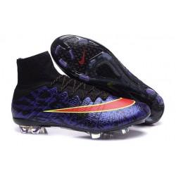 Nouveau Chaussure de Football Nike Mercurial Superfly CR FG Léopard Violet Noir Rouge