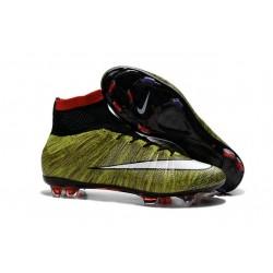 Nouveau Chaussure de Football Nike Mercurial Superfly CR FG Volt Noir Blanc Multicolore