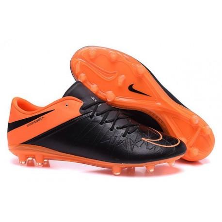 Nouveau Hommes Chaussures Nike Hypervenom Phinish II FG Cuir Orange Noir
