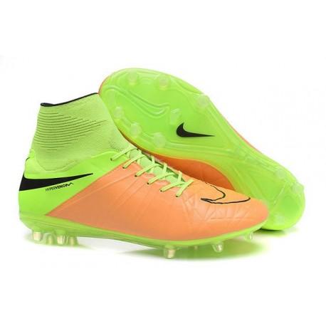 Nike HyperVenom Phantom II FG Football bottes pour hommes Cuir Beige Noir Volt