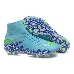 Nike HyperVenom Phantom II FG Football bottes pour hommes Bleu Vert Blanc