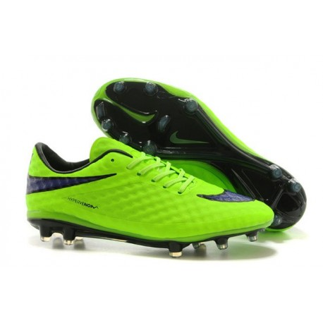 2015 Chaussure de Football Nike Hypervenom Phantom FG Pas Cher Vert Noir
