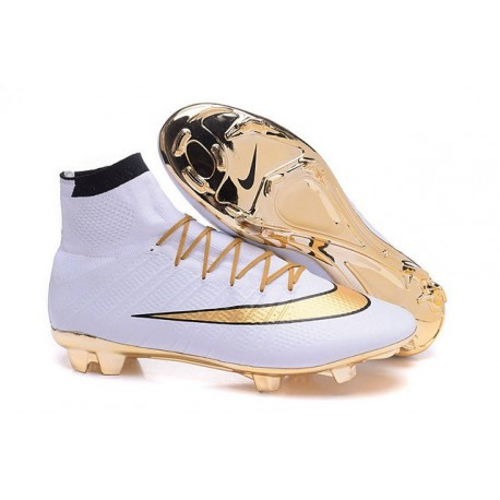 2016 Nouvelle Chaussure Nike Mercurial Superfly IV FG Blanc Or Noir