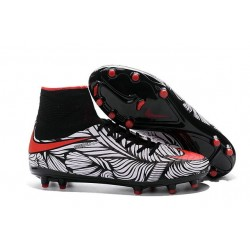Nike HyperVenom Phantom 2 FG Chaussures de football Noir Rouge Blanc