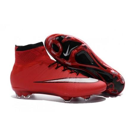 Nouveau Chaussure de Football Nike Mercurial Superfly CR FG Rouge Noir Blanc
