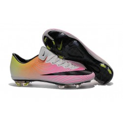 Nouvelle Chaussure de Football Nike Mercurial Vapor X FG Blanc Noir Volt Orange Total