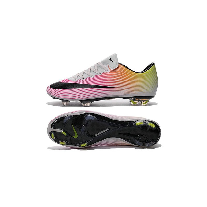 nouvelle chaussure de football nike mercurial vapor x fg blanc noir volt orange total. Black Bedroom Furniture Sets. Home Design Ideas