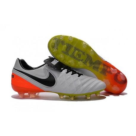 Nouveau Crampons de Football Nike Tiempo Legend VI FG Blanc Noir Orange Total Volt